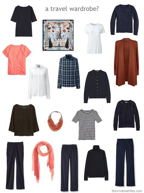 a travel capsule wardrobe based on A Common Wardrobe in navy and white, with accents of russet, coral and brown