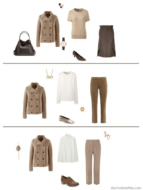 3 ways to wear a camel cardigan jacket from a work capsule wardrobe in shades of brown