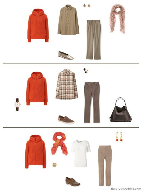 3 ways to wear an orange fluffy jacket from a work capsule wardrobe in shades of brown