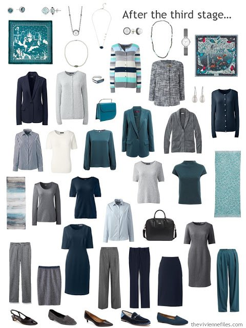 a 23-piece work wardrobe in navy, grey and shades of green