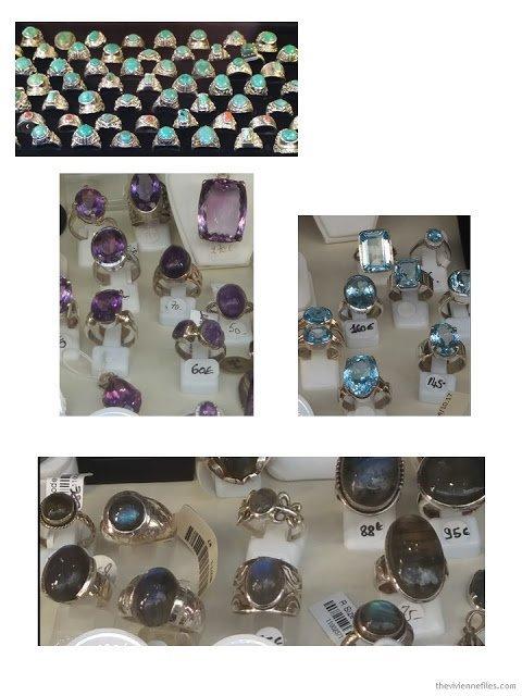 semi-precious stone rings in Paris store windows October 2017