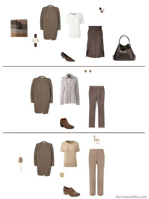 3 ways to wear a dark brown cardigan from a work capsule wardrobe in shades of brown