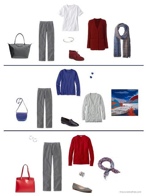 3 ways to wear grey corduroy pants from a capsule wardrobe