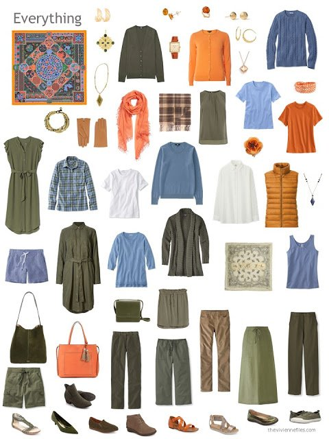 a capsule wardrobe in olive green, with accents of blue, orange and white
