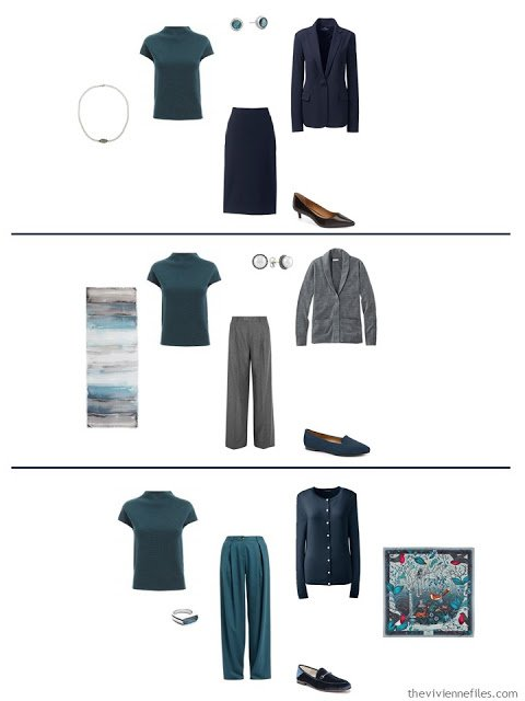 three ways to wear a teal knit top with a work capsule wardrobe