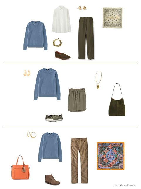 three ways to wear a blue sweater from a capsule wardrobe