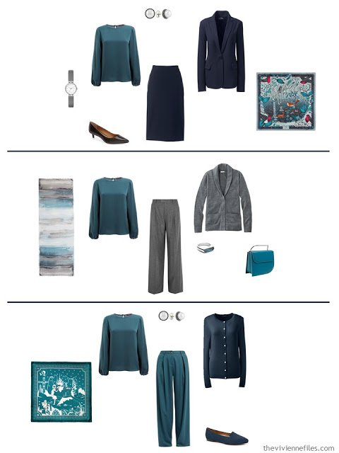 three ways to wear a teal silk blouse with a work capsule wardrobe