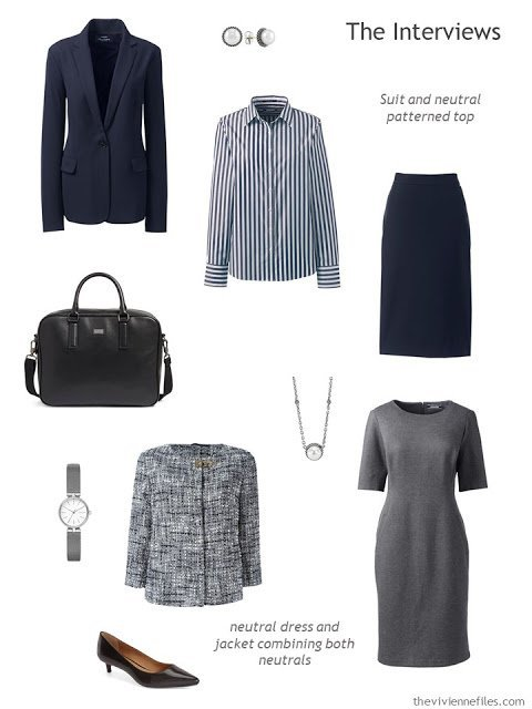 five-piece job interview wardrobe for a conservative office