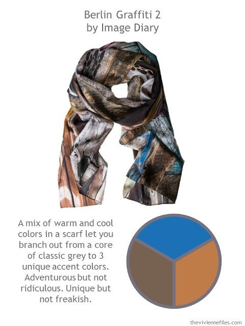 Berlin Grafitti 2 scarf with style guidelines and color palette