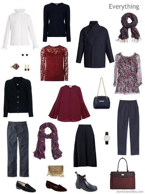 travel capsule wardrobe in navy, burgundy and white
