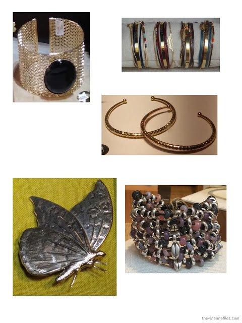 bracelets and a brooch in Paris shop windows October 2017