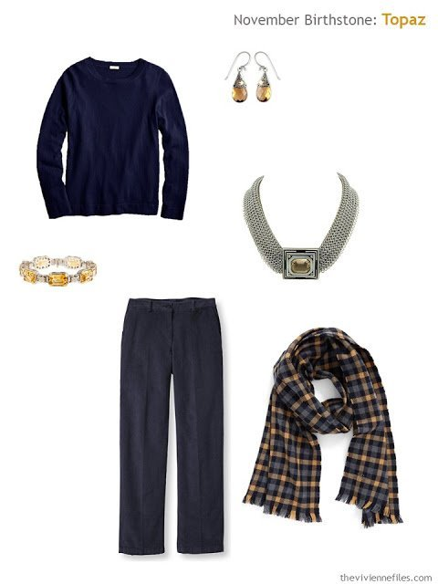 navy outfit with topaz and citrine accessories