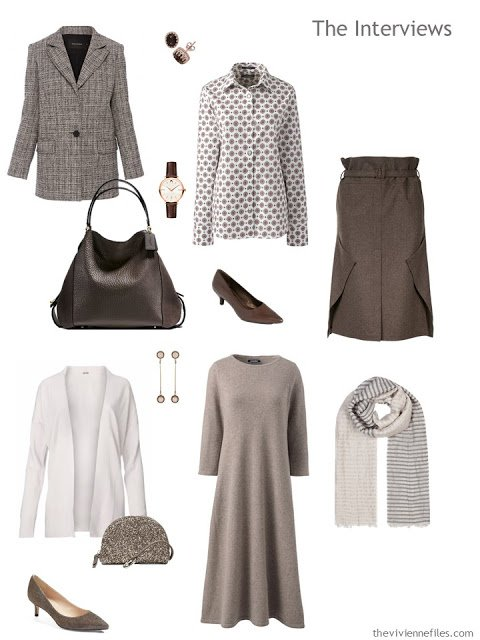 an interview outfit and an outfit for a dinner interview, in shades of brown