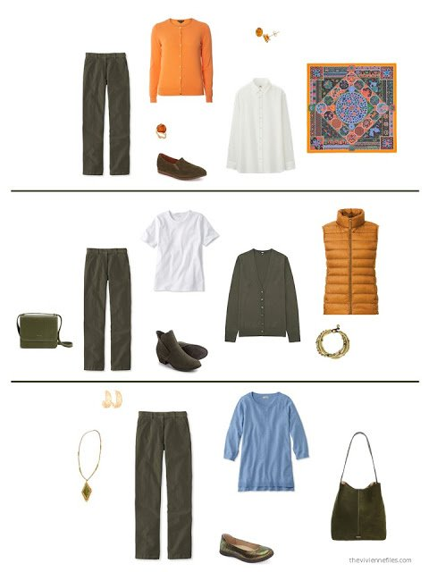 three ways to wear olive corduroy pants from a capsule wardrobe