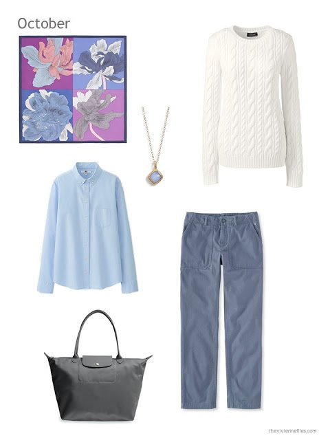 a cool-weather outfit in cream and shades of blue, based upon an Hermes scarf