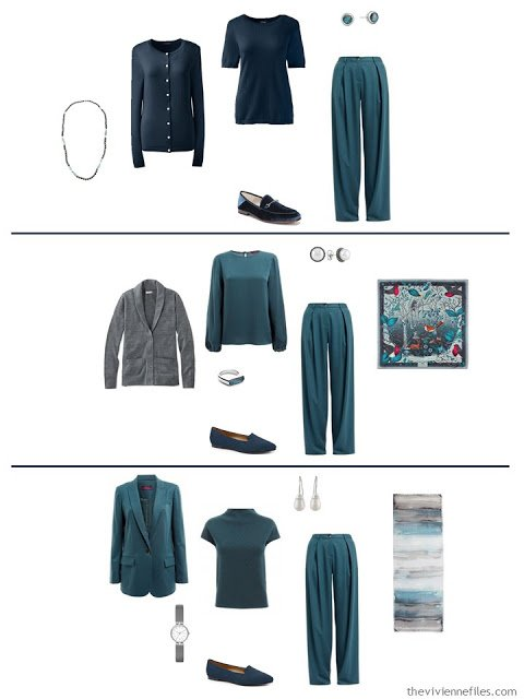 three ways to wear teal pants with a work capsule wardrobe