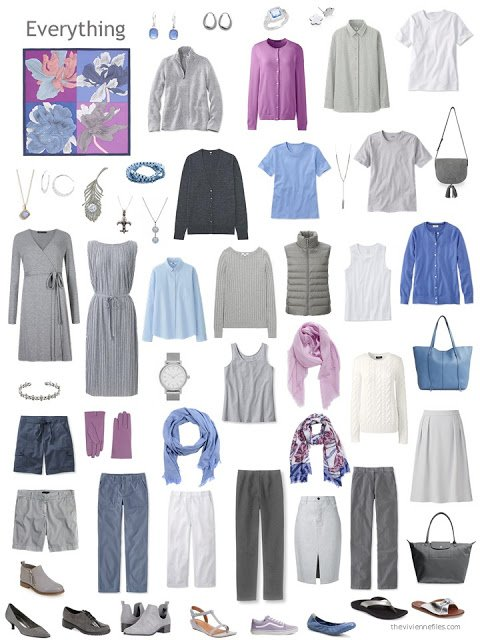 a capsule wardrobe in grey with accents of blue, orchid and white