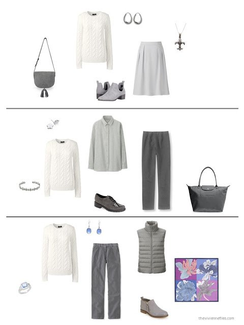three ways to wear a cream sweater from a capsule wardrobe