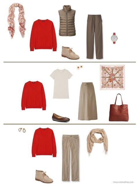 three ways to wear an orange sweater from a capsule wardrobe