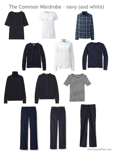 The Common Wardrobe in navy and white