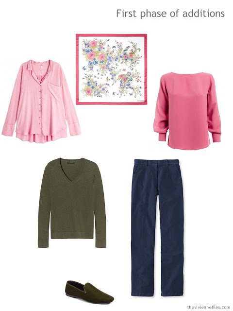 First phase of wardrobe additions in pink, willow green and navy
