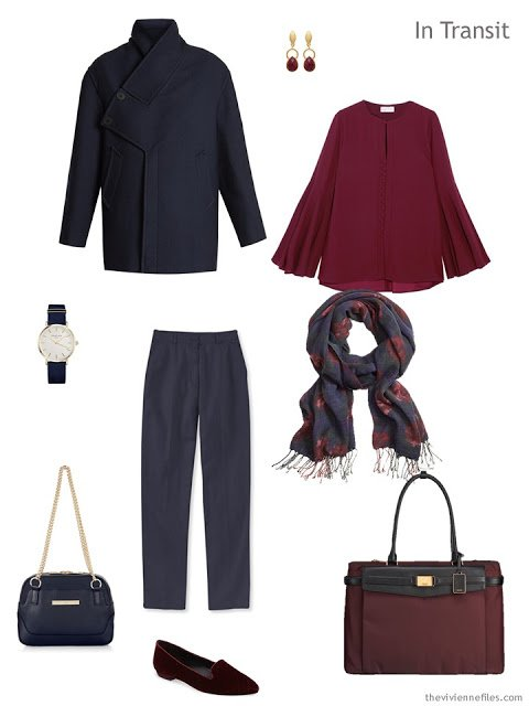 travel outfit in navy and burgundy