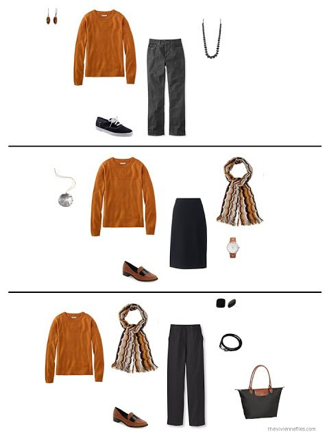three ways to wear an orange sweater from a capsule wardrobe based on an Hermes scarf