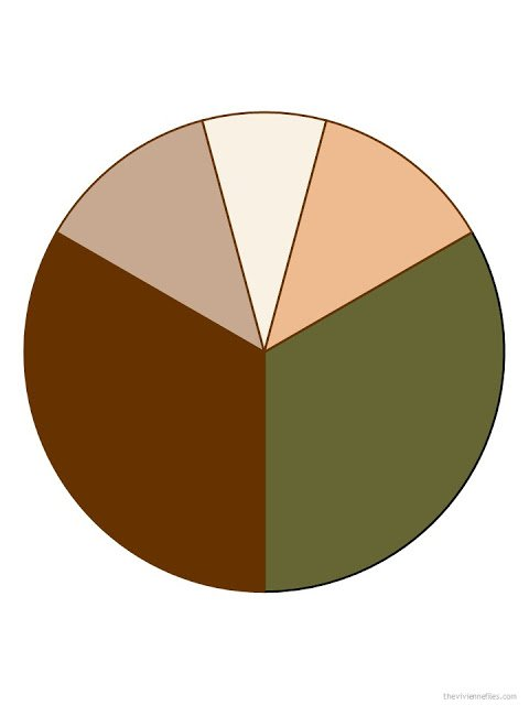 warm brown, warm olive, tan, ivory and apricot