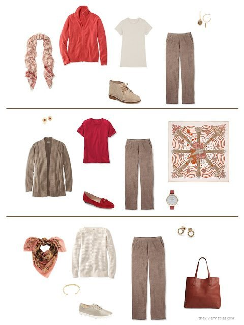 three ways to wear brown corduroy pants from a capsule wardrobe