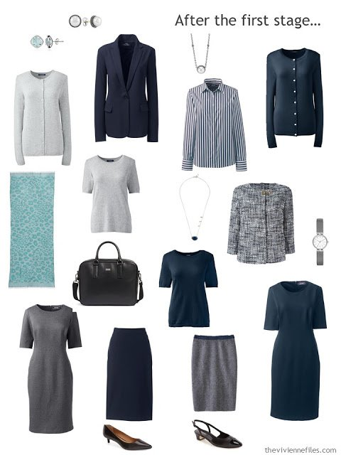 an 11-piece starter office wardrobe in navy and grey