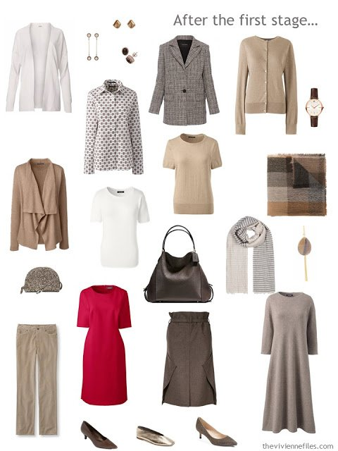 an 11-piece work capsule wardrobe in shades of brown with accents of red