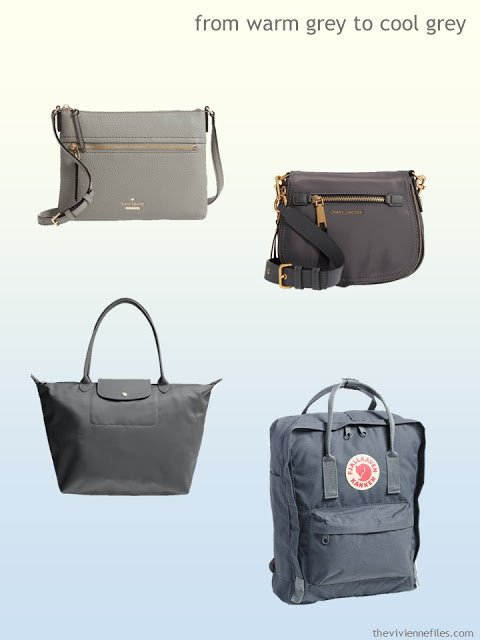 grey handbags from warm grey to cool grey