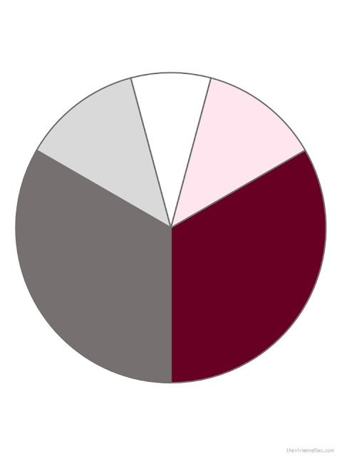medium grey, burgundy, light grey, white and cool pink