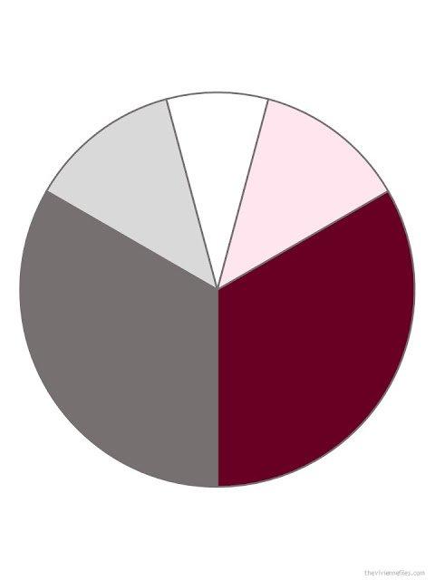 medium grey, burgundy, light grey, white and cool pink