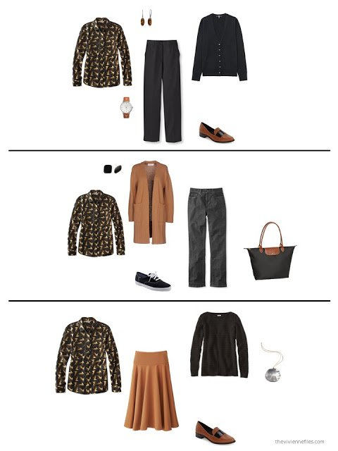 three ways to wear a print shirt from a capsule wardrobe in black, grey, orange and white