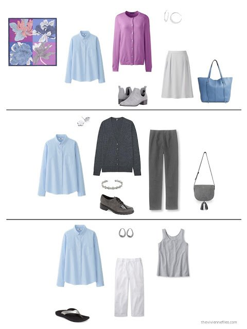 three ways to wear a blue shirt from a capsule wardrobe