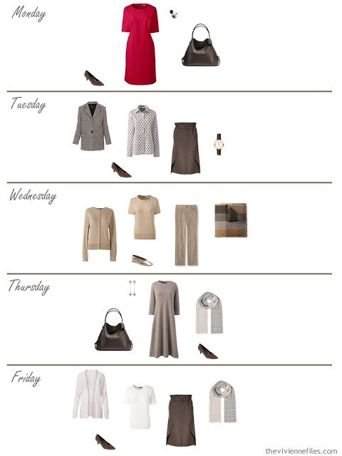 a week of work outfits from an 11-piece work capsule wardrobe in brown with red accents