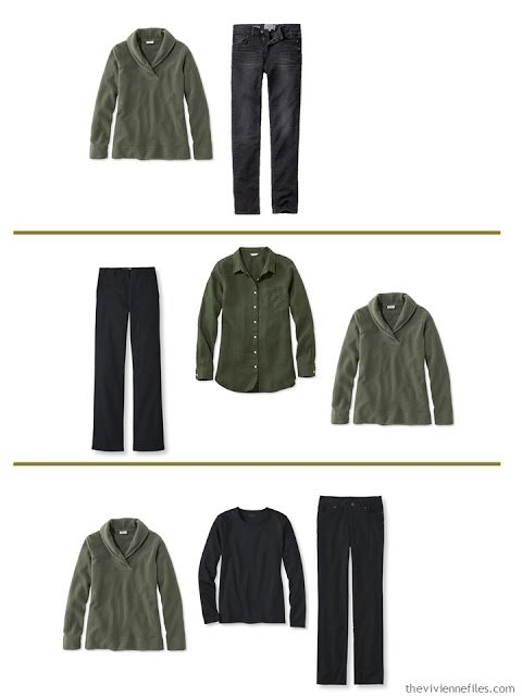 3 ways to wear a basil fleece top with A Common Wardrobe