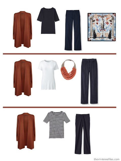 3 ways to wear a russet cardigan with A Common Wardrobe in navy and white