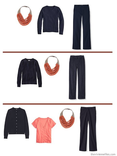 3 ways to wear a russet necklace with A Common Wardrobe in navy and white