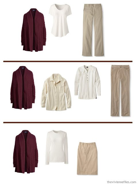 3 ways to wear a burgundy cardigan a A Common Wardrobe in soft, warm colors