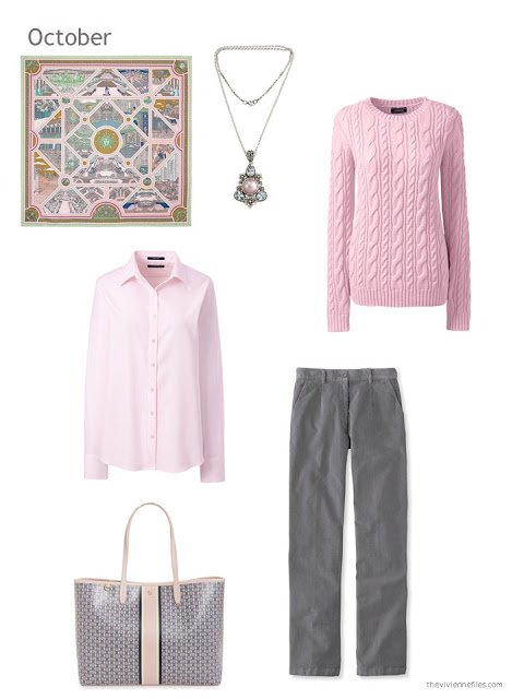 an autumn outfit in pink and grey