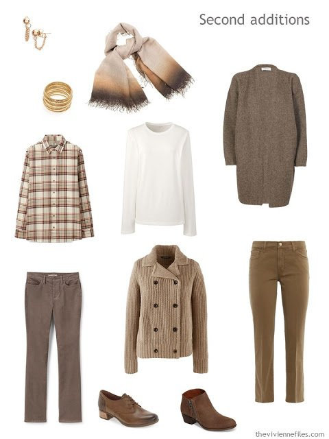 six additions to a work capsule wardrobe in shades of brown with accents of orange and red