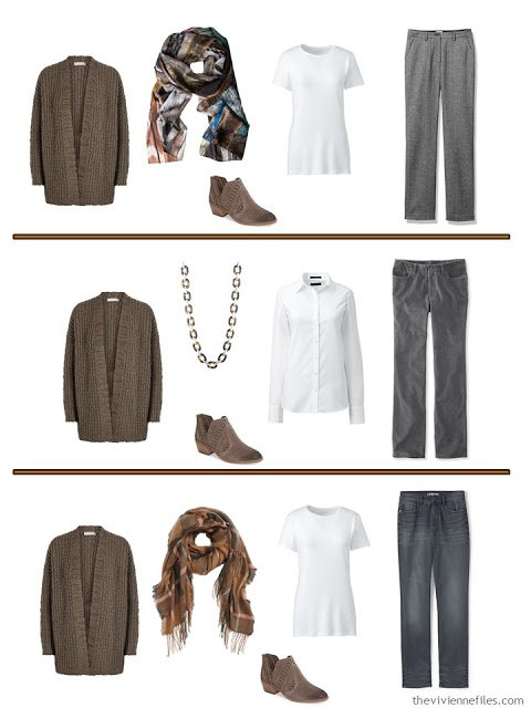 3 ways to wear a brown cardigan with grey pants