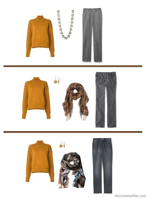 3 ways to wear a squash orange turtleneck with grey pants
