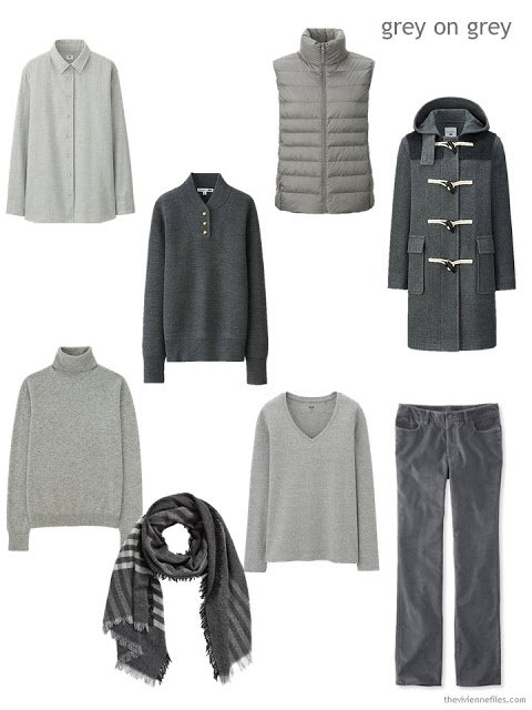 autumn and winter clothing in shades of grey
