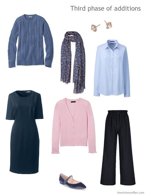 blue, pink and navy additions to a navy-based capsule wardrobe