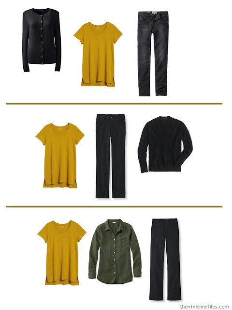 3 ways to wear a gold tee shirt with A Common Wardrobe