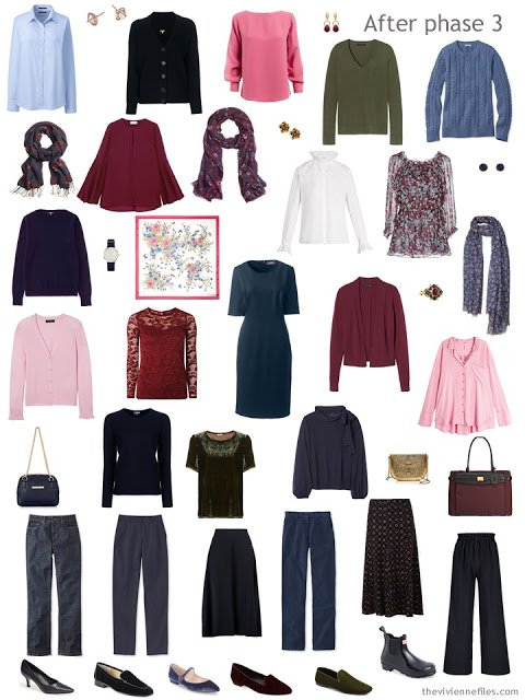 capsule wardrobe based in navy, with light blue, pink, burgundy and green accents