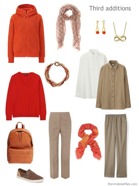 six additions to a work capsule wardrobe in shades of brown, with accents of orange and red
